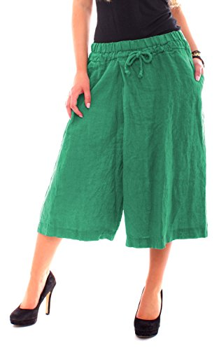 Easy Young Fashion Damen Hosen-Rock Midi Culotte aus reinem Leinen One Size Grün