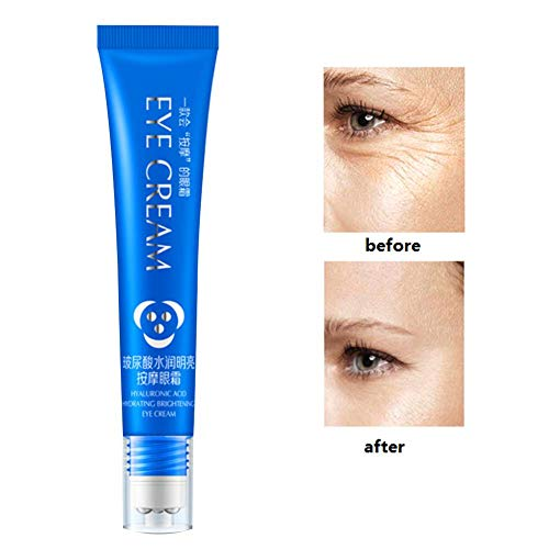 25g Augencreme Hyaluronsäure Roll-On Massage Augencreme Augenringe, Schwellungen, Falten und Taschen Reducer mit natürlichen Hyaluronsäure Ginseng Beste natürliche Behandlung für Frauen und Männer