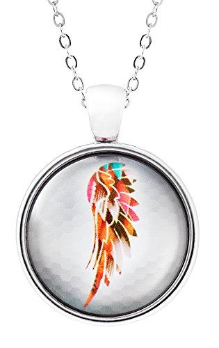 Engelsflügel Kette mit Glas-Anhänger für Damen - Halskette mit elegantem Medaillon - moderner Modeschmuck mit hochwertigem Engel-Motiv für Frauen