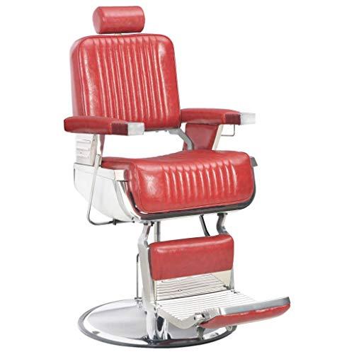 vidaXL Friseurstuhl mit Kopfstütze Fußstütze Bedienungsstuhl Friseursessel Friseureinrichtung Salon Stuhl Drehstuhl Rot 68x69x116 cm Kunstleder Drehbar