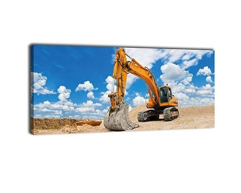 Leinwandbild Bagger Bild auf Leinwand Kunstdruck Wandbild   Panorama 100cm x 40cm