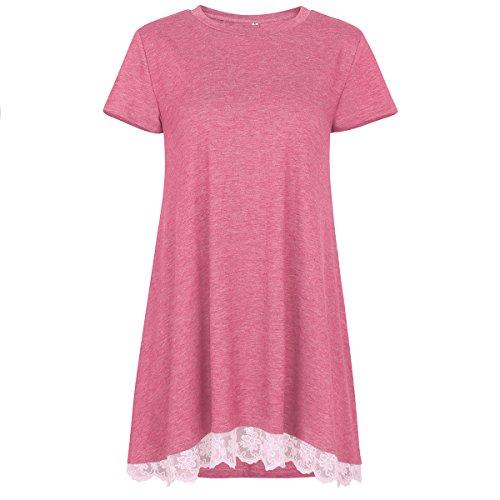 Einfarbiges T-Shirt mit Rundhalsausschnitt für Damen mit V-AusschnittDamen Kurzarm Rundhals nähte Spitze braun pink L