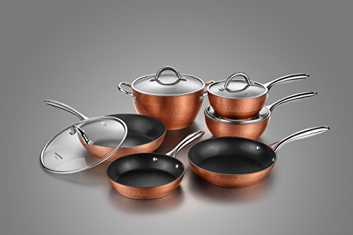 Cooksmark Diamond-Infused Nonstick Induction Safe Cookware Set, Scratch-Resistant Pots and Pans Set with Glass Lids, Dishwasher Safe Oven Safe 10-Piece, Copper Brown
