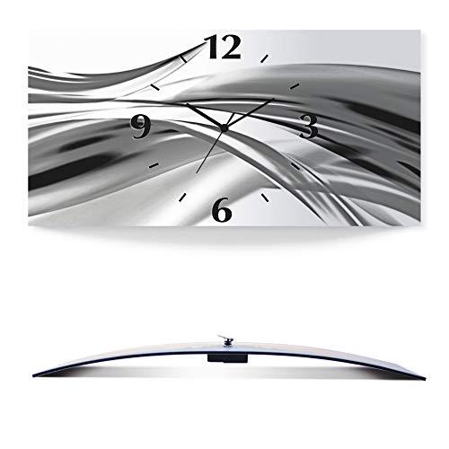 Artland Wanduhr ohne Tickgeräusche 3D Alu Quarz Uhr Silber metallic lautlos 60x30 cm Schöne graue Welle - Abstrakt S7KX