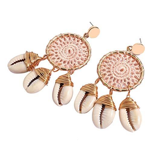 UINGKID Damen Ohrringe Mode Ohrstecker Vintage Böhmische Conch Rattan handgefertigte Dreamcatcher Schmuck