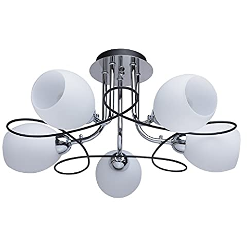 Compact ceiling chandelier 5 arms white glass shades black and chrome metal colour urban modern style 5*60W E14