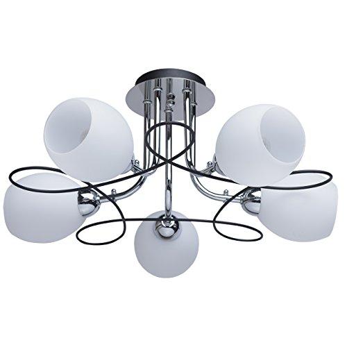 Kleine Deckenleuchte 5 flammig schwarz und chromfarbig Metall weißmatt Glasschirme modern für Schlafzimmer exkl.5*60W E14