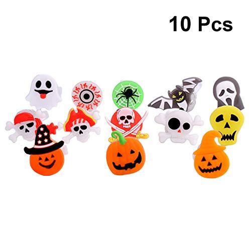 Amosfun 10 stücke Halloween LED Blinkende Ringe Kreative Kürbis Schädel Fledermaus Augapfel Ringe Kinder Kürbis Requisiten für Kinder Halloween gastgeschenke Spielzeug (zufällige Farbe und Muster)