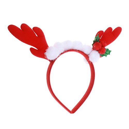 MagiDeal Bambini Festa Di Natala Costume Di Natale Renna Fascia Fasce Dei Capelli Agrifoglio Renna Di Natale - Rosso