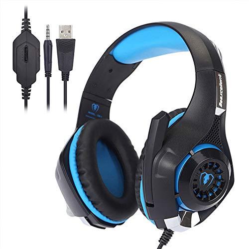 Tlgf Stereo Gaming Headset, Atmung LED-Leuchten Kopfhörer Mit Memory-Schaum-Ohrbecher Rauschen Abbrechen & MIC Surround,Blue Speaker-schaum