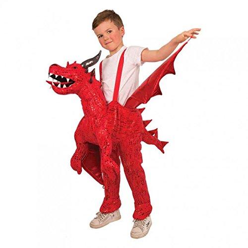 Reittier Feuer Drache / Drachenkostüm für Kinder zum Überhängen / Aufsitzkostüm / Huckepack Kostüm (Kostüm Reittier)