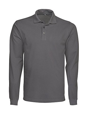 James Harvest Herren Langarmshirt, Einfarbig Blau Blau Medium Pistol Grey