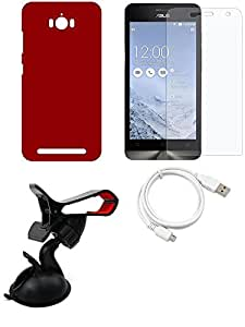 NIROSHA Tempered Glass Screen Guard Cover Case USB Cable Mobile Holder for ASUS Zenfone Max - Combo