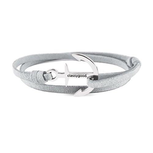 classygood. Anker Armband Classy Bracelet Silber, Alcantara-Leder Band grau für Damen/Herren