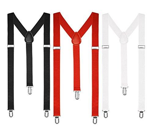 Boolavard Hosenträger Herren Damen Hosen Träger Y Form Style Clips Schmal Neon Bunt Farbig (1 x Schwarz, 1 x Weiß, 1 x Rot)