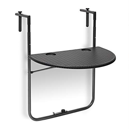Relaxdays tavolino per balcone pieghevole modello bastian in ottica rattan, nero, 63x60x84 cm