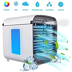 Climatiseur Air Portable Cooler - Rafraichisseur d'air et Ventilateur, 3 en 1 Mini Climatiseur Humidificateur Purificateur, Leakproof, New Filter (3 Generation)