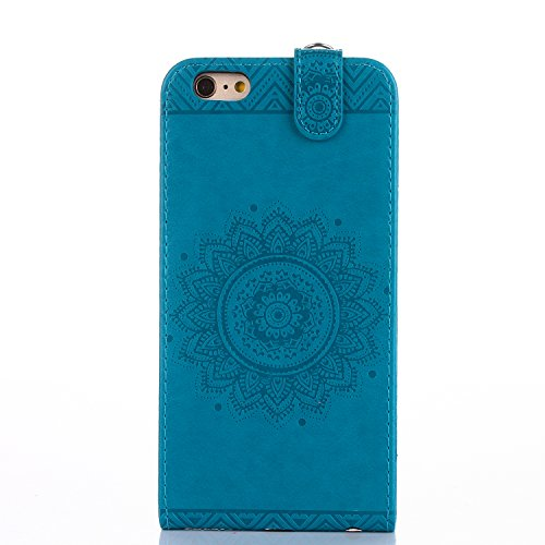 iPhone 6s Plus Custodia Flip,iPhone 6s Plus Custodia in Pelle,Slynmax Stampato Copertura di Ccuoio Folio Cover in PU Dipinto Sintetica Ecopelle Guscio Wallet Case per Apple iPhone 6 Plus /6S Plus Prot Blu