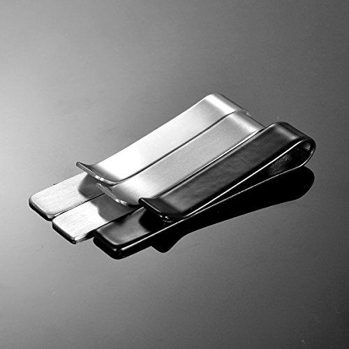 HooAMI Mens Stainless Steel Tie Clip Clasp Bar Pin for Regular & Skinny Neckties Wedding Present Gift