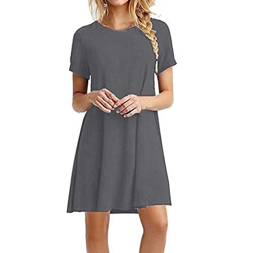 Sexy Bestes Geschenk für Frauen !!! Beisoug Fashion Womens Solide O-Neck Kurzarm Lässige Swing Lose Dress