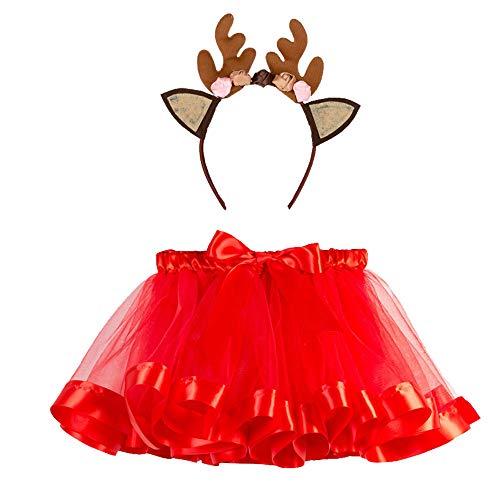 Mädchen Kinder Tutu Weihnachtsfeier Ballett Rainbow Baby Kostüm Rock + Hirsch Haarband