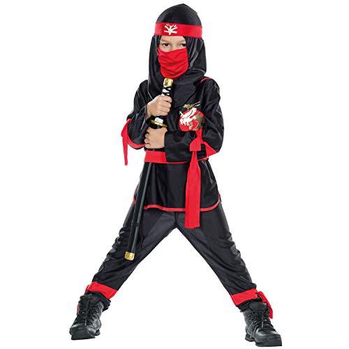 Ninja-Kostüm in Rot/scwarz | Schattenkrieger-Kostüm für Kinder zu Karneval und Fasching (128) (Kinder Für Spion-anzug)