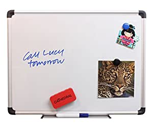Cathedral Whiteboard Drywipe Magnetic with Pen Tray and Aluminium Trim (30x45cm)