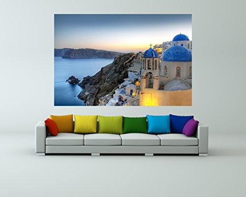 Preisvergleich Produktbild Vlies Fototapete - Santorini - Griechenland - 135x90 cm - inklusive Kleister - Tapetenkleister – Bild auf Tapete – Bildtapete – Foto auf Tapeten – Wand – Wandtapete – Vliestapete – Wanddeko - Design