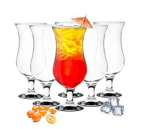 Sendez 6 Stück Cocktailgläser 480ml 9 Varianten Hurricane Longdrinkgläser Bargläser (Klar) -