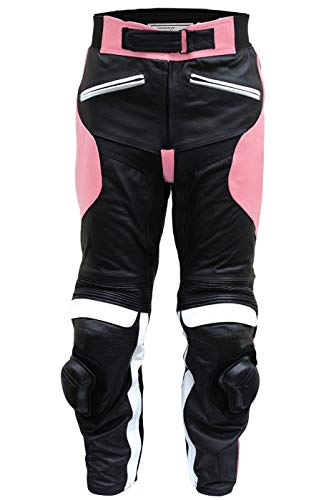 Damen Motorradhose Motorrad Biker Racing Lederhose Rindsleder Schwarz/Pink, Größe:S