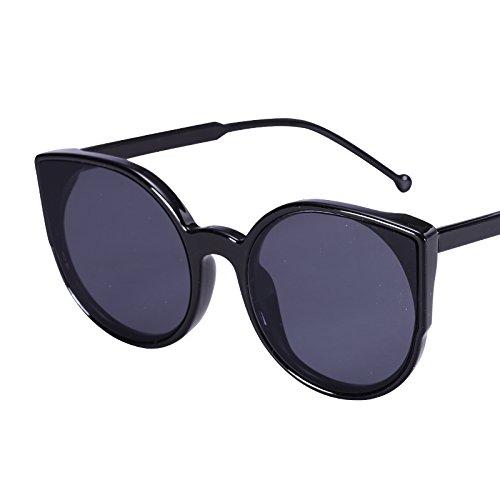 LXKMTYJ Sepia Cat's Eye Sonnenbrille Cat Ear runde Sonnenbrille Ebene bunte Sonnenbrille, die Classic schwarz