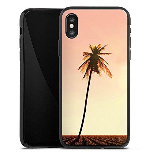 Apple iPhone X Silikon Hülle Case Schutzhülle Palmen Urlaub Sonne Silikon Case schwarz