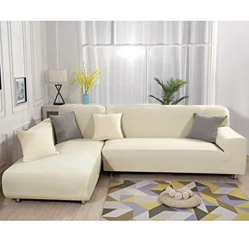 Sofa Überwürfe elastische Stretch Sofa Bezug 2er Set 3 Sitzer für L Form Sofa (beige)