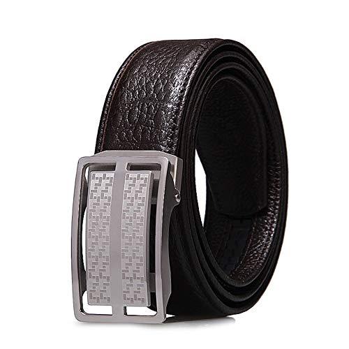 Cchao cinturino regolabile in pelle in acciaio inossidabile regolabile con cinturino in rilievo senza fibbia automatica sbiadita per gli adulti,brown,120cm