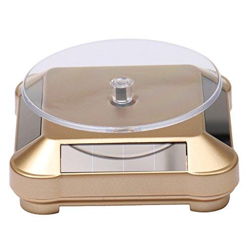 MagiDeal XRF-038 360°Solar Powered Drehteller Präsentierteller für Ausstellung Zur Schmuck Uhr Hany 2-4 Kreise/Min Gold
