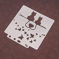 BINGHONG3 Love Cat Stencils Template Painting Scrapbooking Embossing Stamping Album Crafts