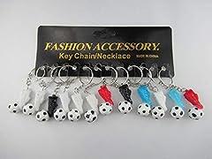 Idea Regalo - Lotto/Set di 12 pezzi - Portachiavi pallone da calcio + 4 centimetri scarpa