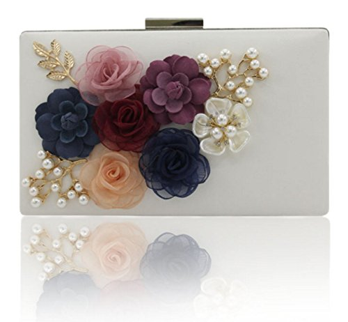 Handmade Tote Handtasche (GSHGA Damenhandtaschen Handmade Blumen-Diamant-Perlen-Paket Dinner Party Bag Viereckiger Kasten Tasche,Multi-colored)