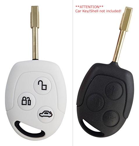 CK+ Ford Auto-Schlüssel Hülle Key Cover Case Etui Silikon für Focus Ka Mondeo Tourneo - Weiß