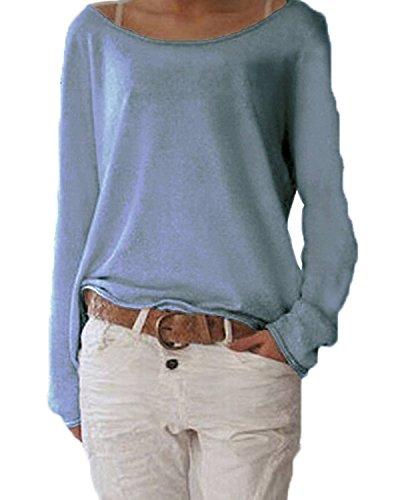 ZANZEA Damen Langarm Lose Bluse Hemd Shirt Oversize Sweatshirt Oberteil Tops Marine EU 40-42/Etikettgröße M