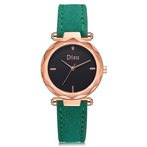 Uhren Dellin Mode Damen Retro Design Lederband Analog Alloy Quarz-Armbanduhr (Grün)