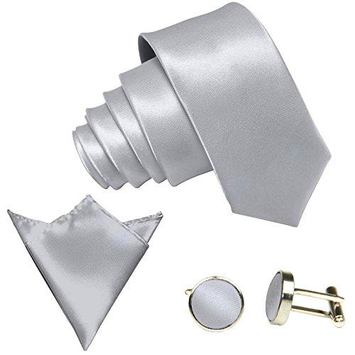 3-SET Hellgraue Krawatte moderne Breite 8,5cm Binder Manschettenknöpfe Einstecktuch Satin Seide-Optik Hochzeitskrawatte