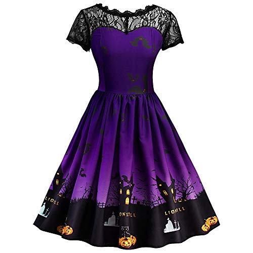 DEELIN Halloween Party Damen Kurzarm Halloween Retro Lace Vintage Kleid Eine Linie Kürbis Swing Dress