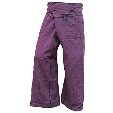 Panasiam Thai Fisherman Pantalon en coton véritable solide avec poche Taille: S-XL (de 160à 195cm) 5couleurs différentes - violet - L