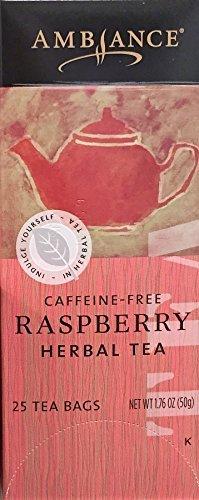1.76oz Ambiance Raspberry Herbal Tea, Caffeine Free, 25 Tea Bags (One Box)