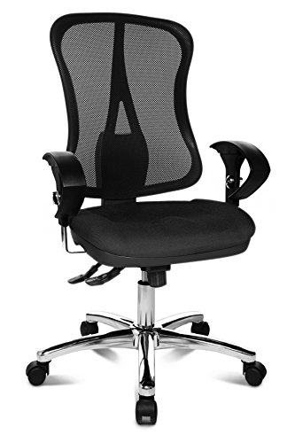 Deluxe Stoff (Topstar Head Point SY Deluxe, inkl. Armlehnen Bürodrehstuhl, Stoff, 70 x 66 x 113 cm, schwarz)