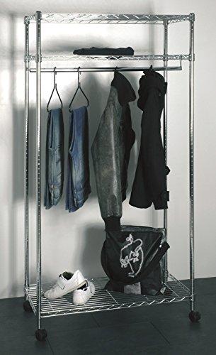 Rollgarderobe bzw. Garderobe in chrom mit 3 Ablagen