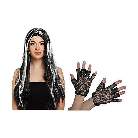 Hexen, Halloween Perücke schwarz lang Lange, Fingerlose Spitzen-Handschuhe (Morticia Kostüm Zubehör)