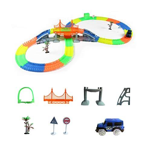 TOYANDONA Rennstrecke Auto Spielzeug Luminous Race Multi Track Set DIY Glow Eisenbahn Zug Spielset Pädagogisches Spielzeug für Kinder Jungen Geburtstagsfeier Festival Geschenk (220 Track Stücke)