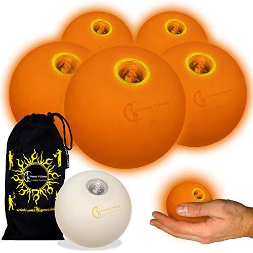 5X LED-Licht bis Kugeln Jonglierbälle 5er Set - Profi LED bälle+ Reisetasche! Orange (Licht Jonglierbälle Bis)